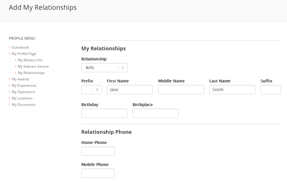 My Relationships Form